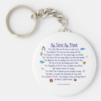 MY SISTER My Friend poem with graphics Basic Round Button Key Ring