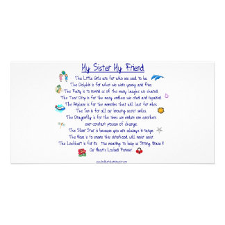 MY SISTER My Friend poem with graphics Photo Cards