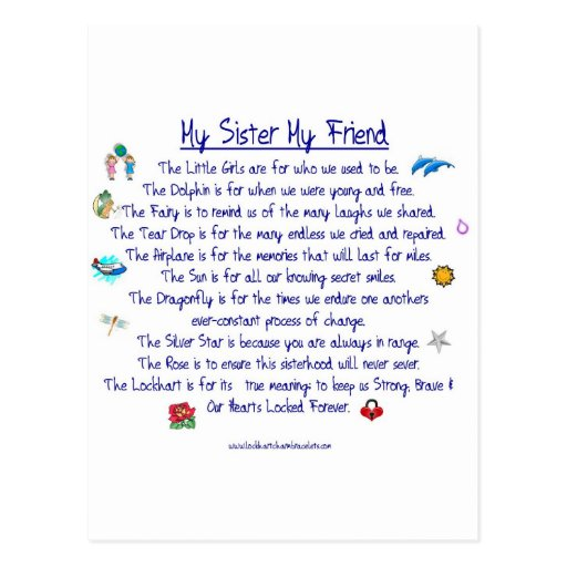 MY SISTER My Friend poem with graphics Postcard