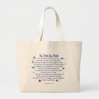 MY SISTER My Friend poem with graphics Jumbo Tote Bag