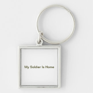 My Soldier Is Home Silver-Colored Square Key Ring