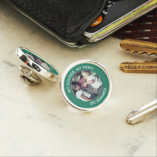 My Soldier, My Hero Custom Photo Lapel Pin