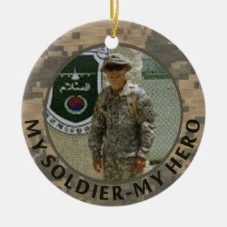 My Soldier My Hero Military Photo Custom Date Round Ceramic Decoration
