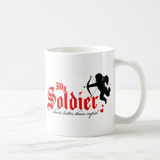 My Soldier Shoots Better Than Cupid Basic White Mug