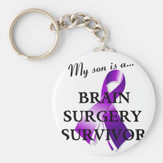 My Son Is A Brain Surgery Survivor Basic Round Button Key Ring