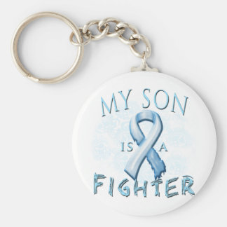 My Son is a Fighter Light Blue Basic Round Button Key Ring
