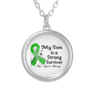 My Son is a Strong Survivor Green Ribbon Round Pendant Necklace