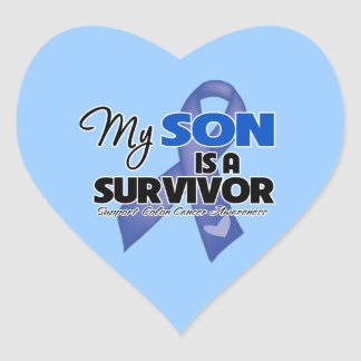 My Son is a Survivor - Colon Cancer Heart Stickers