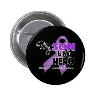 My Son is My Hero - Purple Ribbon Button