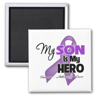 My Son is My Hero - Purple Ribbon Square Magnet