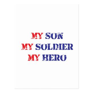 My son, my soldier, my hero postcard