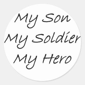 My son my soldier my hero round sticker
