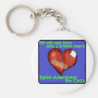 My Son Was Born With A Broken Heart Basic Round Button Key Ring