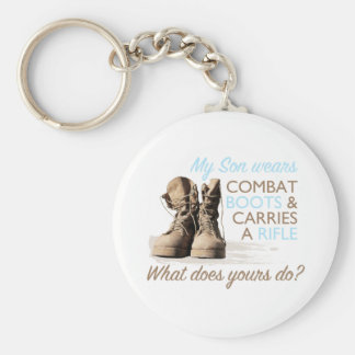 My Son Wears Combat Boots Basic Round Button Key Ring