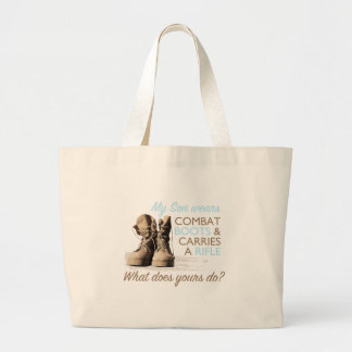 My Son Wears Combat Boots Large Tote Bag