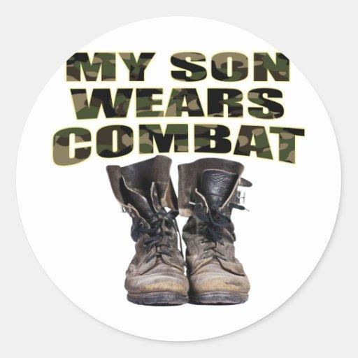 My Son Wears Combat Boots Round Sticker