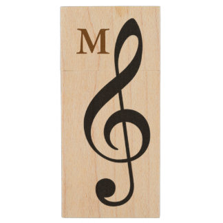 my songs G-clef music symbol Wood USB 2.0 Flash Drive