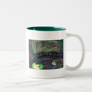 My son's representation of Monet and the Lily pond Two-Tone Coffee Mug