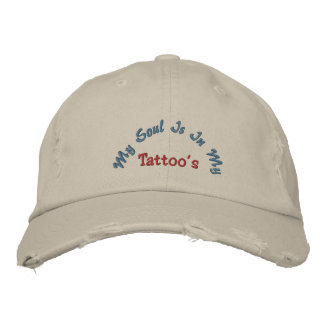 My Soul Is In My, Tattoo's-Distressed-Hat Embroidered Baseball Caps