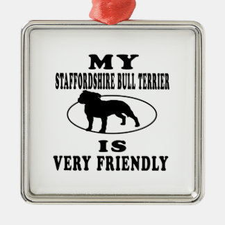 My Staffordshire Bull Terrier is very friendly Christmas Tree Ornaments
