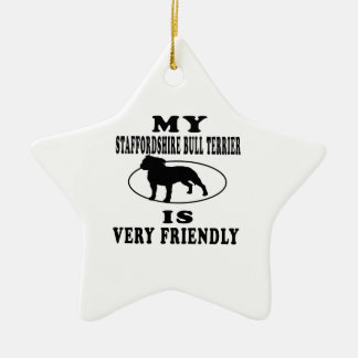 My Staffordshire Bull Terrier is very friendly Christmas Ornament