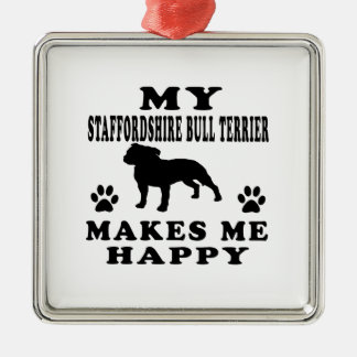 My Staffordshire Bull Terrier Makes Me Happy Christmas Ornament