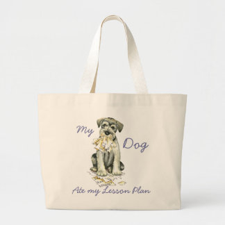 My Standard Schnauzer Ate My Lesson Plan Large Tote Bag
