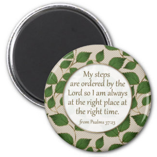 My Steps are Ordered: Green and Gold Leaf Design Magnet