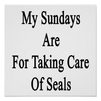 My Sundays Are For Taking Care Of Seals Poster