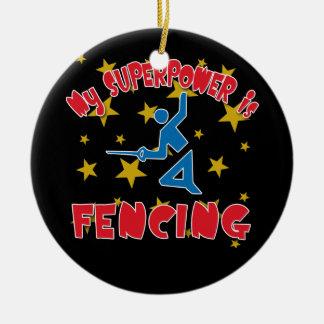 My Superpower is Fencing Round Ceramic Decoration