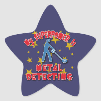 My Superpower is Metal Detecting Star Stickers