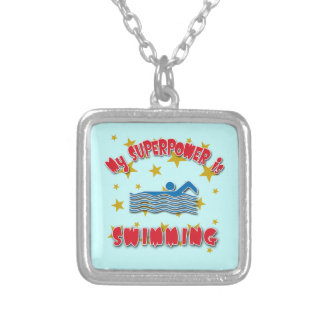 My Superpower is Swimming Silver Plated Necklace