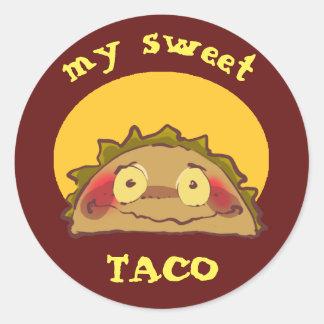 my sweet shy taco funny cartoon classic round sticker