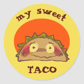 my sweet shy taco funny cartoon round sticker