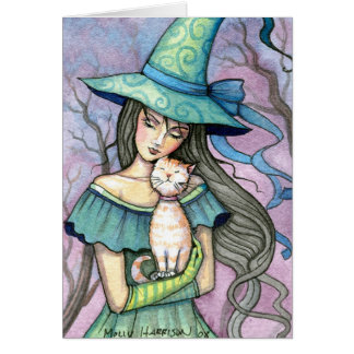 My Sweet Tabby Witch Cat Card Notecard