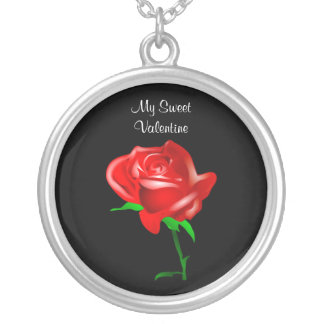 My Sweet Valentine with red rose on Valentine Day Custom Necklace