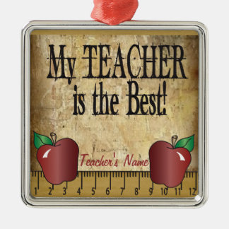 My Teacher is the Best | Vintage Silver-Colored Square Decoration