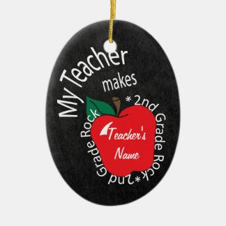 My Teacher Makes 2nd Grade Rock | Chalkboard Christmas Ornament