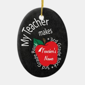 My Teacher Makes 3rd Grade Rock | Chalkboard Ceramic Oval Decoration