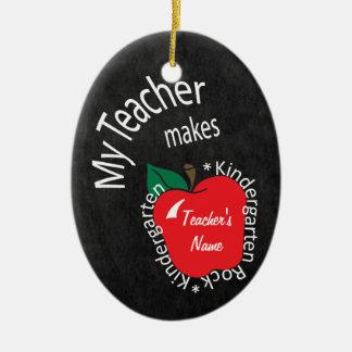 My Teacher Makes Kindergarten Rock | Chalkboard Christmas Ornament