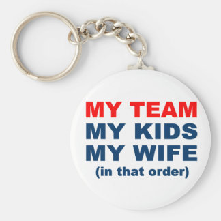 My Team My Kids My Wife in that order Basic Round Button Key Ring