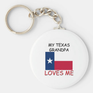My Texas Grandpa Loves Me Basic Round Button Key Ring