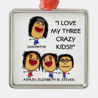 My Three Crazy Kids Cartoon Christmas Ornament