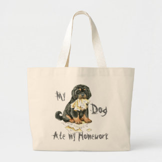 My Tibetan Mastiff Ate My Homework Large Tote Bag