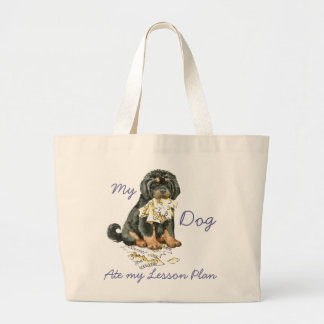My Tibetan Mastiff Ate My Lesson Plan Large Tote Bag