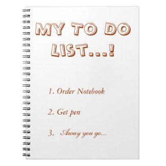 My to do list spiral notebook