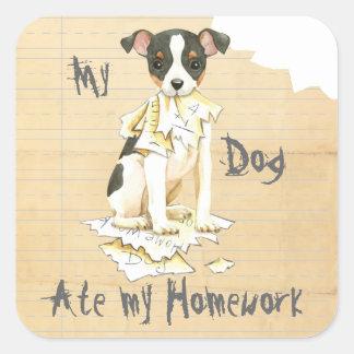 My Toy Fox Terrier Ate My Homework Square Sticker
