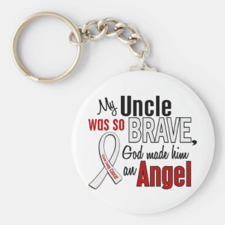 My Uncle Is An Angel Lung Cancer Basic Round Button Key Ring