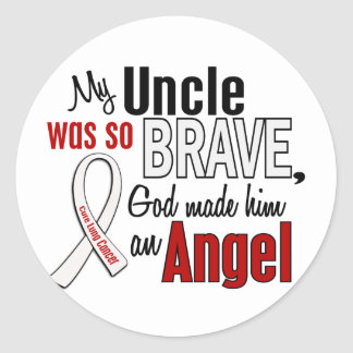 My Uncle Is An Angel Lung Cancer Round Sticker