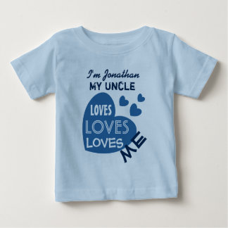 My UNCLE Loves Me Blue Hearts Custom Text V07 Baby T-Shirt